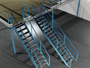 Tekening: Trap 35° en trap 45° voor de entresolvloer .